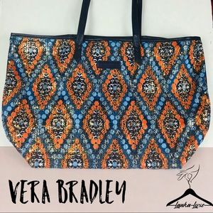 Vera Bradley Orange & Navy Mesh Sequin Tote